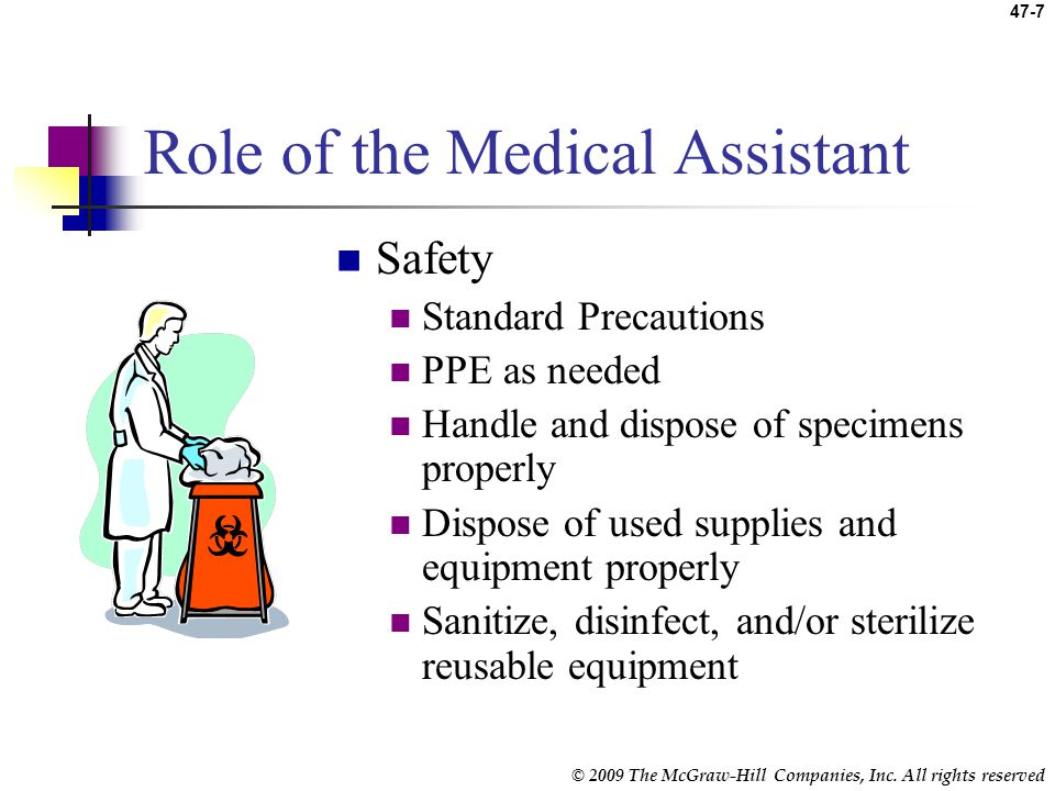 © 2009 The McGraw-Hill Companies, Inc. All rights reserved 47-6 Role of the Medical Assistant Collect, process, and test urine samples Knowledge neces