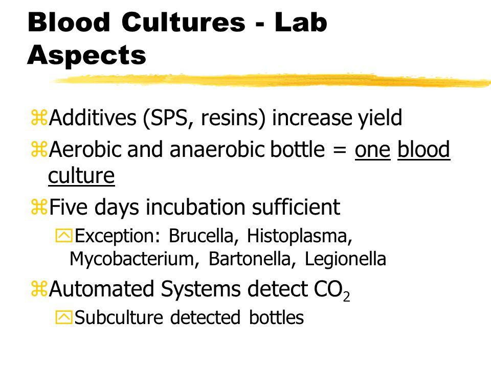 Blood Cultures - Lab Aspects zAdditives (SPS, resins) increase yield zAerobic and anaerobic bottle = one blood culture zFive days incubation sufficient yException: Brucella, Histoplasma, Mycobacterium, Bartonella, Legionella zAutomated Systems detect CO 2 ySubculture detected bottles