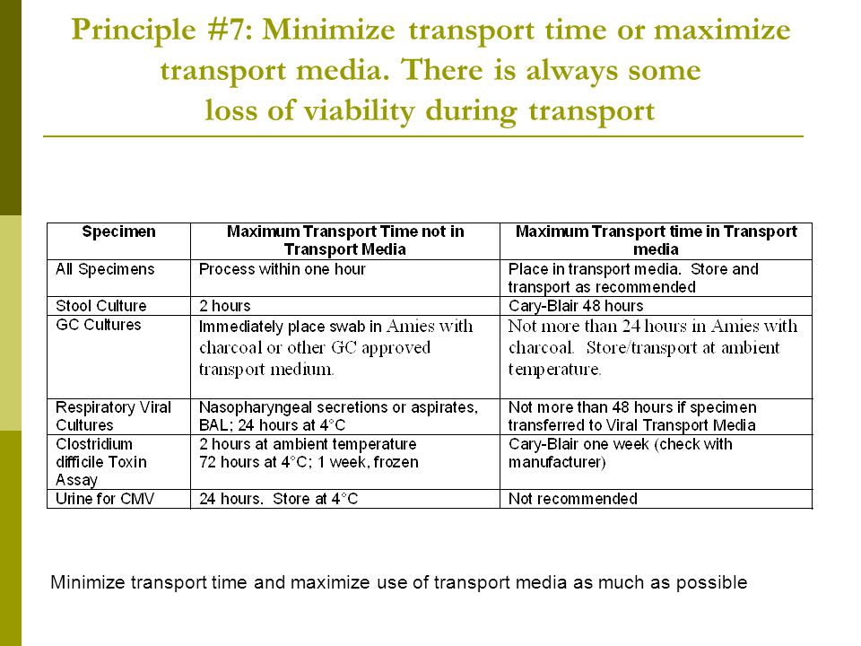 Principle #7: Minimize transport time or maximize transport media. There is always some loss of viability during transport Minimize transport time and