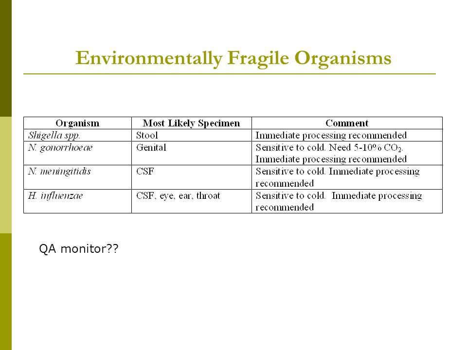 Environmentally Fragile Organisms QA monitor??