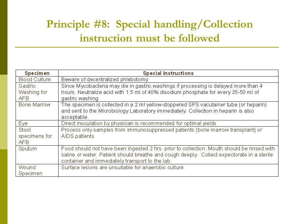 Principle #8: Special handling/Collection instruction must be followed