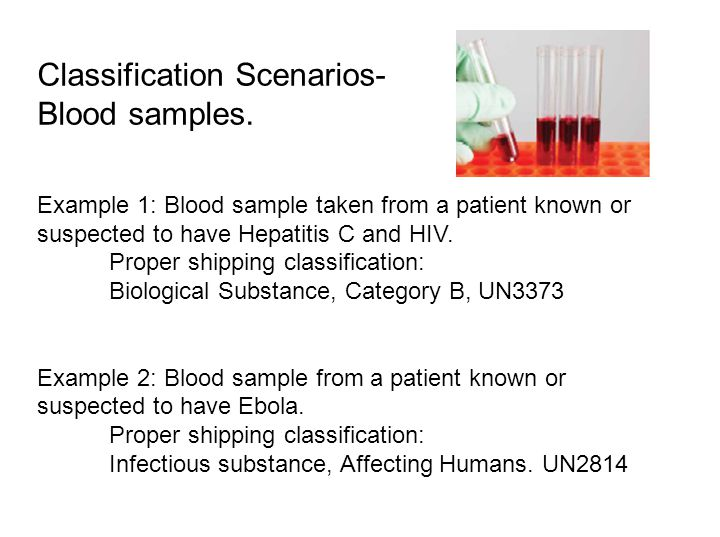 Classification Scenarios- Blood samples.