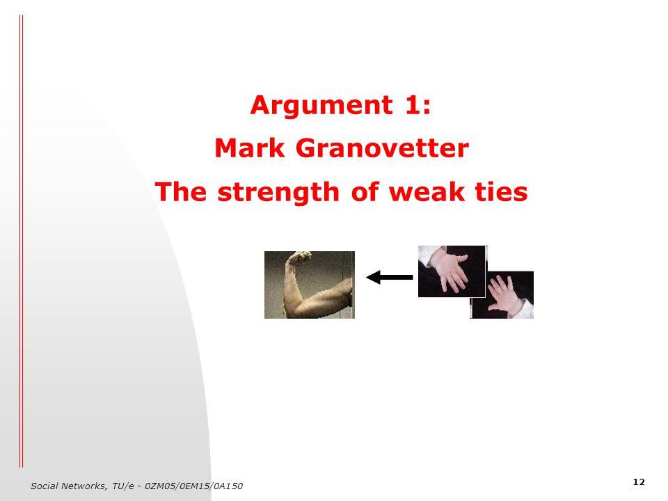 Social Networks, TU/e - 0ZM05/0EM15/0A150 12 Argument 1: Mark Granovetter The strength of weak ties