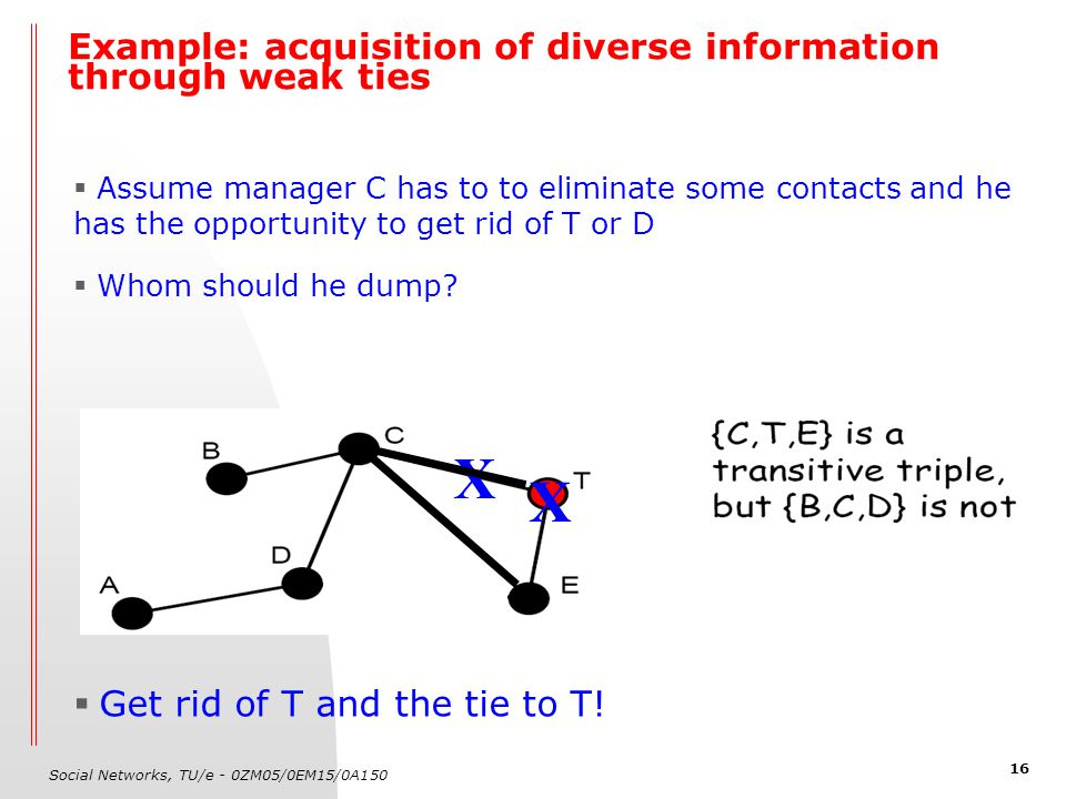 Social Networks, TU/e - 0ZM05/0EM15/0A150 16 Example: acquisition of diverse information through weak ties  Assume manager C has to to eliminate some contacts and he has the opportunity to get rid of T or D  Whom should he dump.