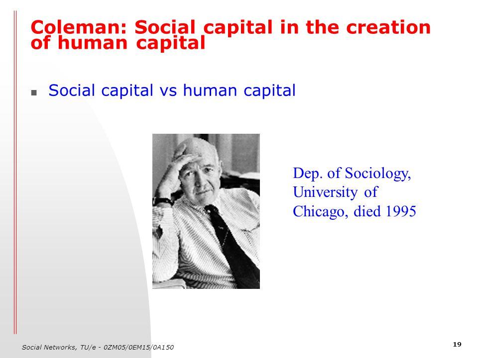 Social Networks, TU/e - 0ZM05/0EM15/0A150 19 Social capital vs human capital Coleman: Social capital in the creation of human capital Dep. of Sociolog