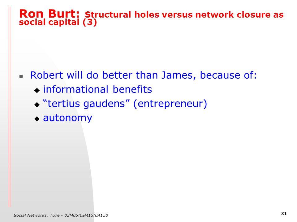 Social Networks, TU/e - 0ZM05/0EM15/0A150 31 Ron Burt: Structural holes versus network closure as social capital (3) Robert will do better than James,