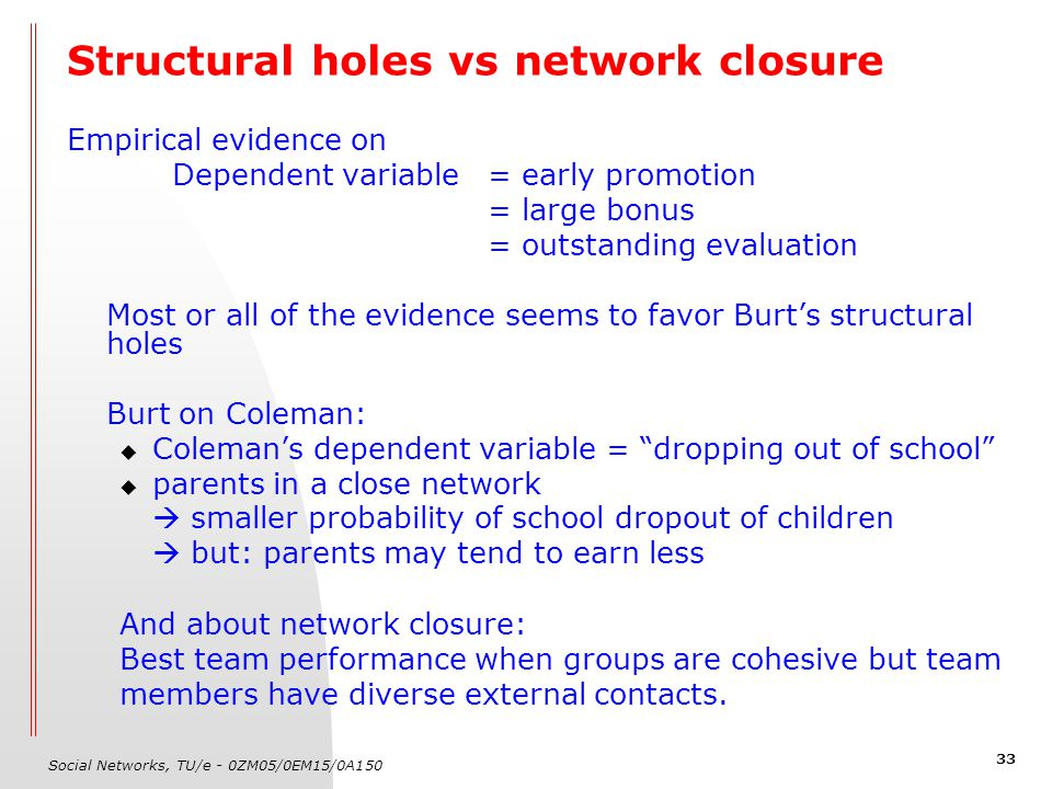 Social Networks, TU/e - 0ZM05/0EM15/0A150 33 Structural holes vs network closure Empirical evidence on Dependent variable= early promotion = large bon