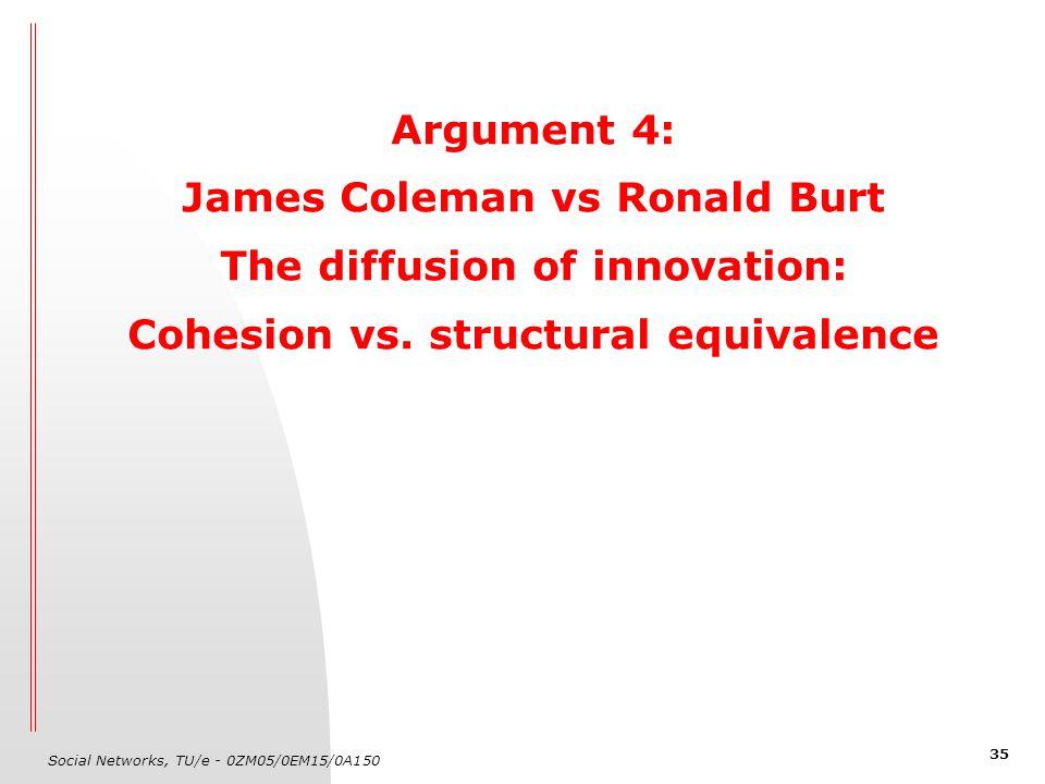 Social Networks, TU/e - 0ZM05/0EM15/0A150 35 Argument 4: James Coleman vs Ronald Burt The diffusion of innovation: Cohesion vs. structural equivalence