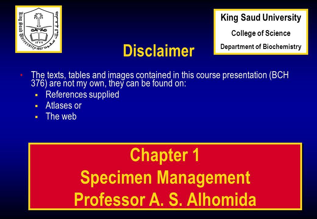 1 1 Chapter 1 Specimen Management Professor A. S.