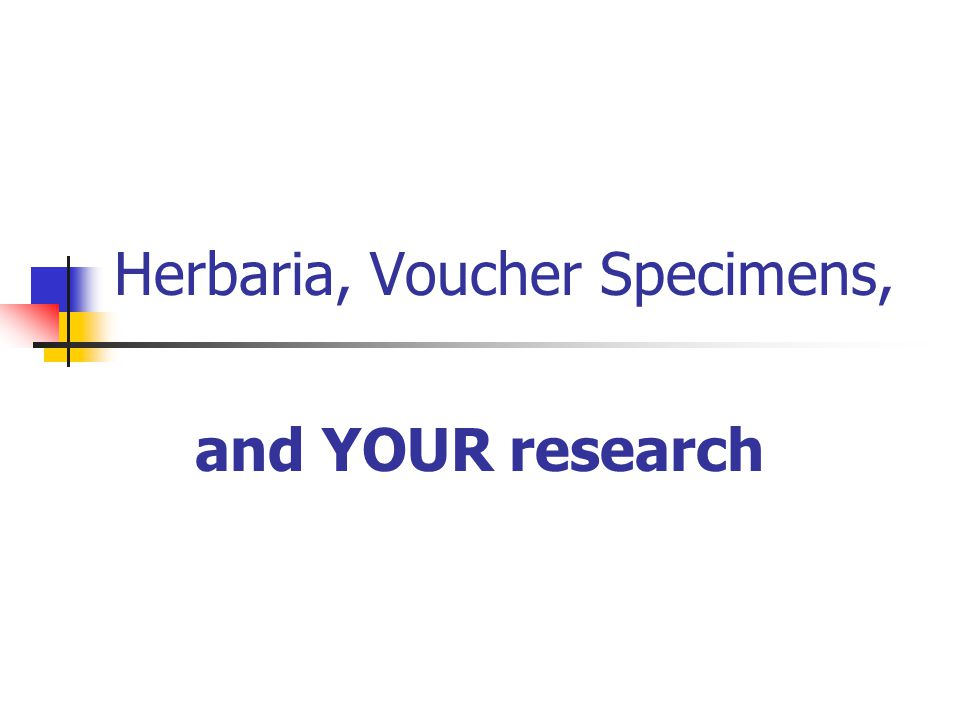 Herbaria, Voucher Specimens, and YOUR research