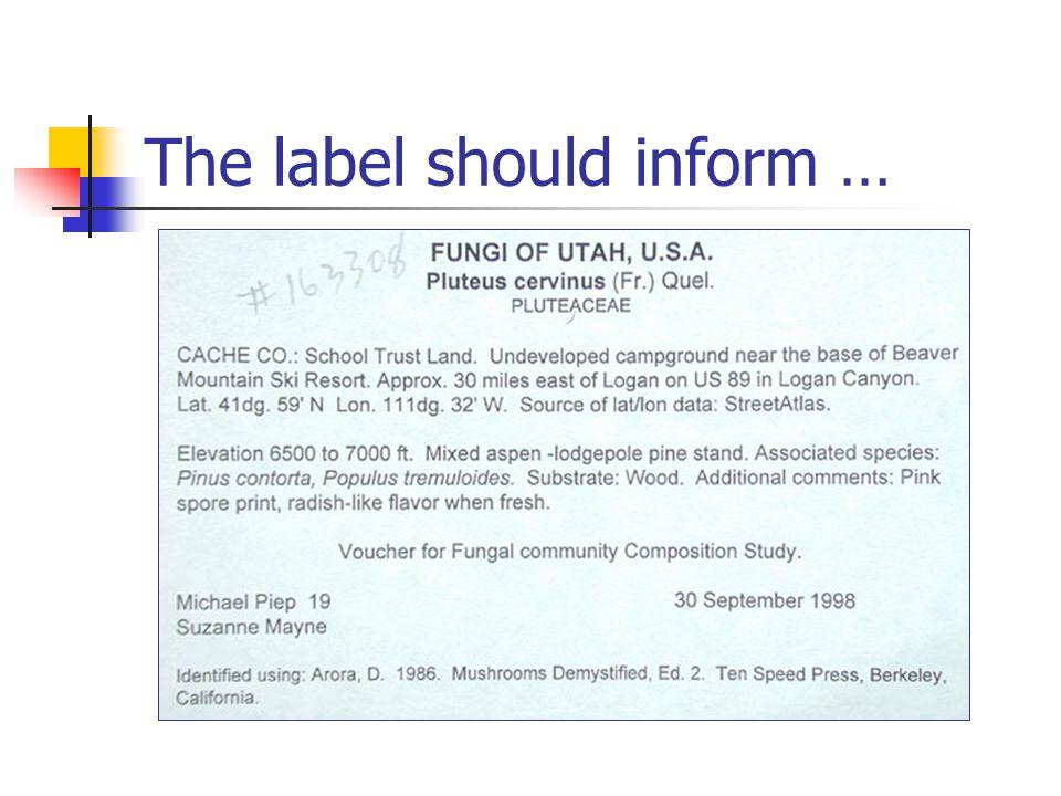 The label should inform …