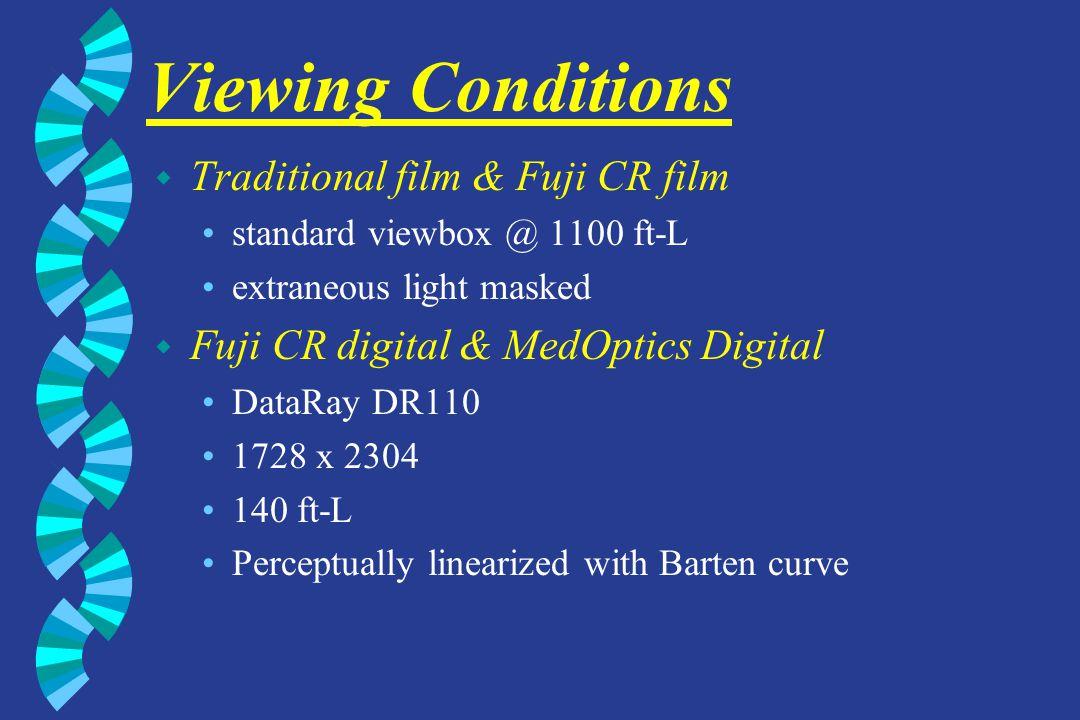 Viewing Conditions w Traditional film & Fuji CR film standard viewbox @ 1100 ft-L extraneous light masked w Fuji CR digital & MedOptics Digital DataRa