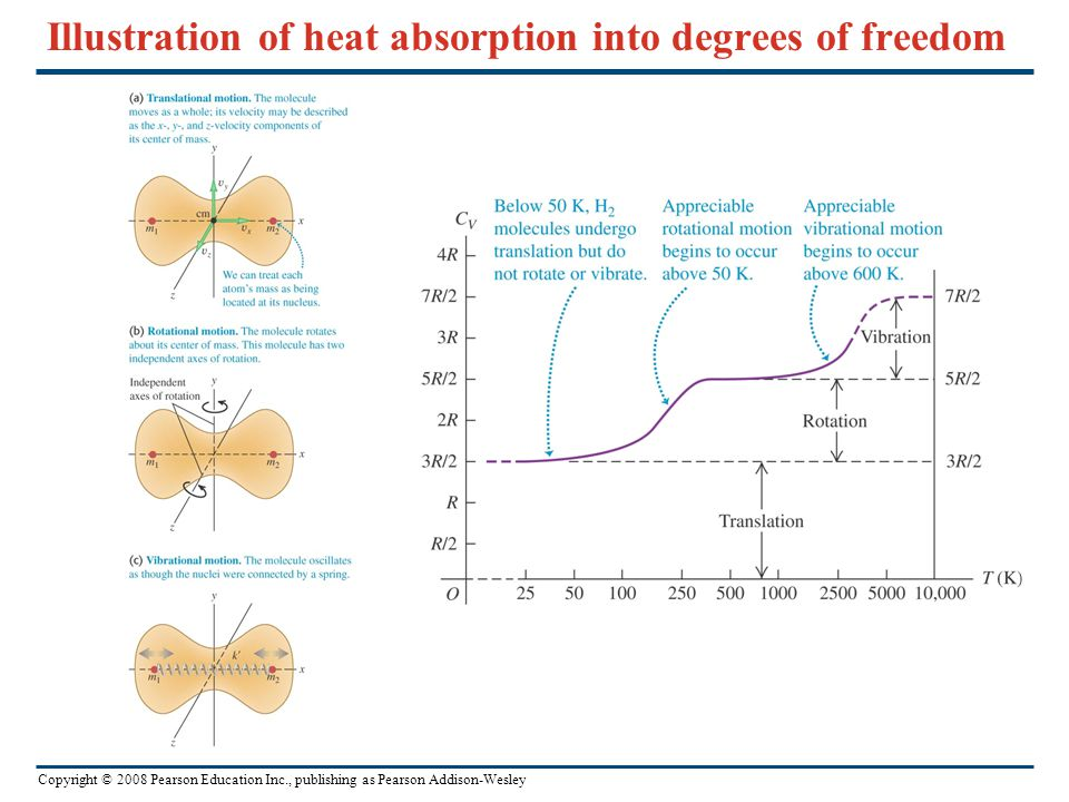Copyright © 2008 Pearson Education Inc., publishing as Pearson Addison-Wesley Illustration of heat absorption into degrees of freedom