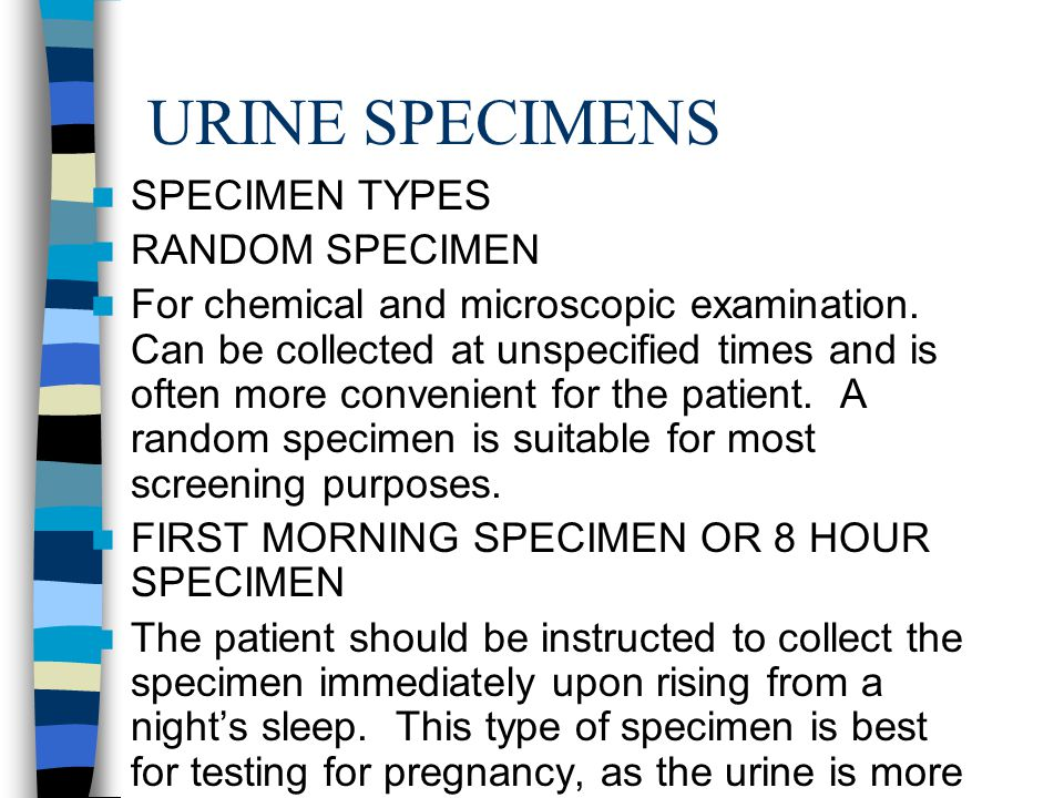URINE SPECIMENS SPECIMEN TYPES RANDOM SPECIMEN For chemical and microscopic examination.