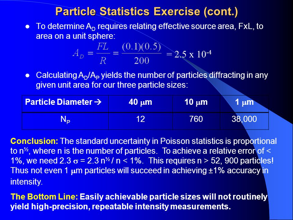 Particle Statistics Exercise (cont.) To determine A D requires relating effective source area, FxL, to area on a unit sphere: = 2.5 x 10 -4 Calculatin