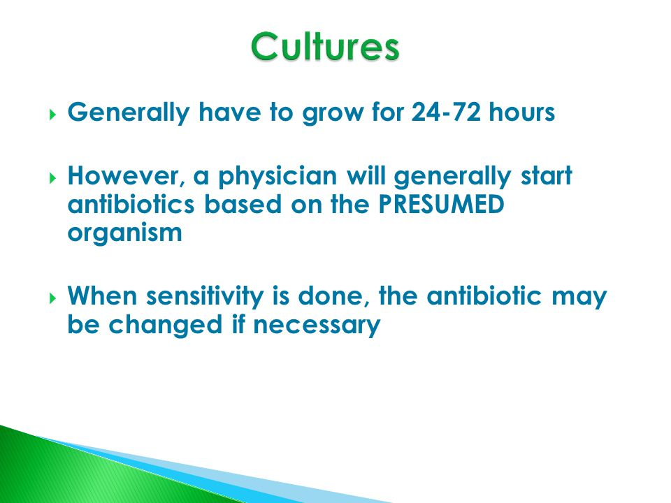  Generally have to grow for 24-72 hours  However, a physician will generally start antibiotics based on the PRESUMED organism  When sensitivity is