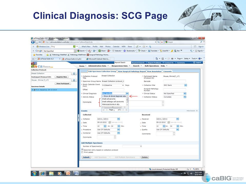 Clinical Diagnosis: SCG Page