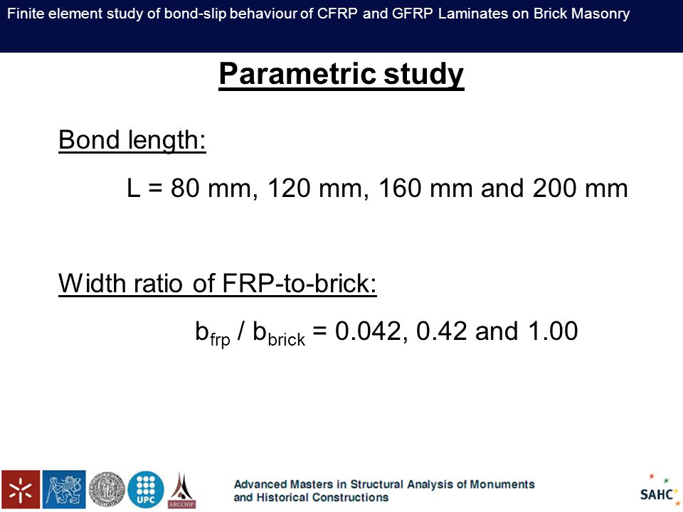 Finite element study of bond-slip behaviour of CFRP and GFRP Laminates on Brick Masonry Parametric study Bond length: L = 80 mm, 120 mm, 160 mm and 20