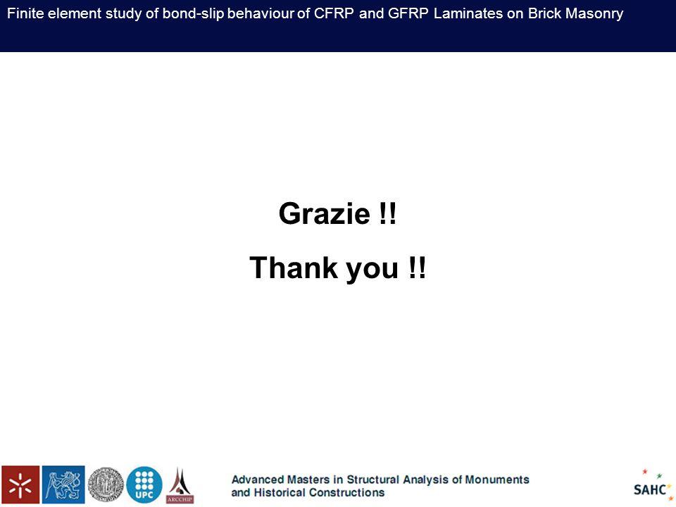 Finite element study of bond-slip behaviour of CFRP and GFRP Laminates on Brick Masonry Grazie !.