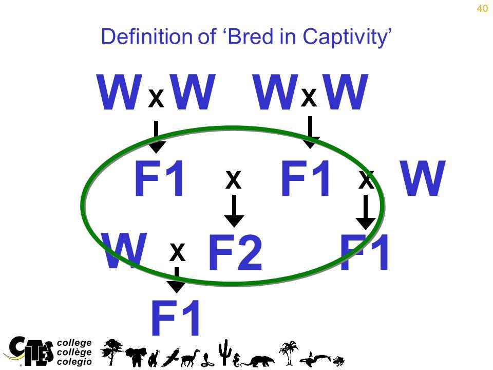 40 Definition of 'Bred in Captivity' 40 W WW W F1 F2 X X XX F1 W W X
