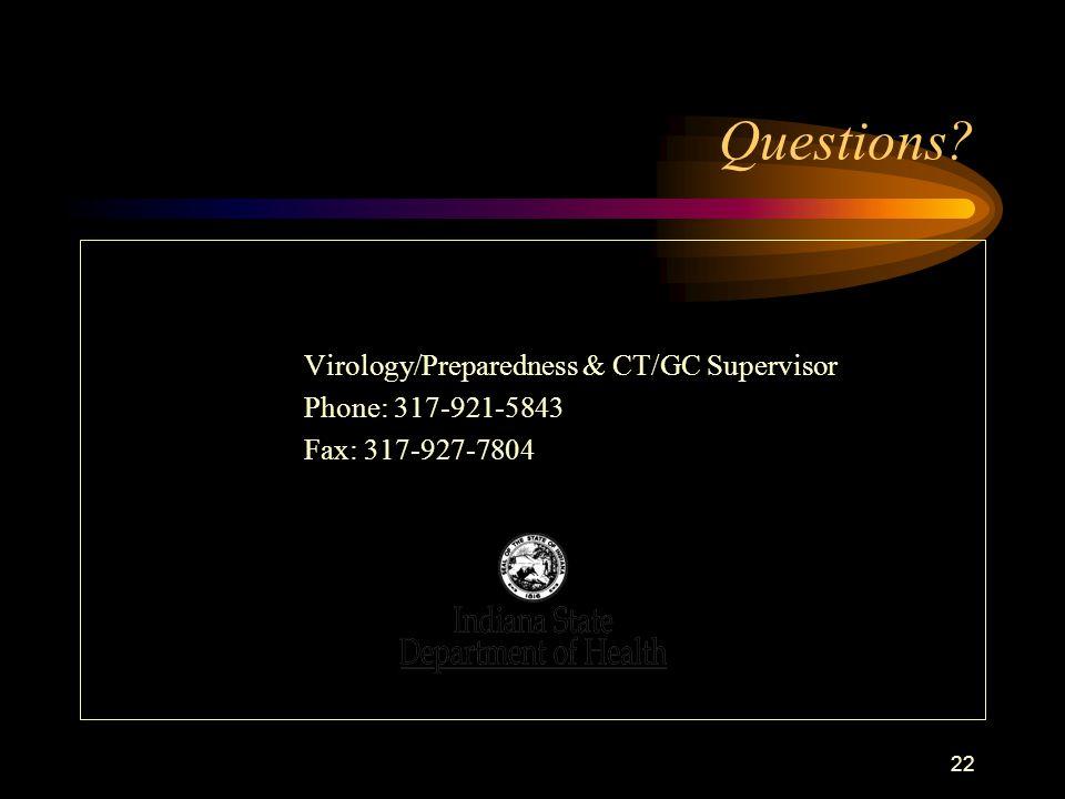 22 Questions? Virology/Preparedness & CT/GC Supervisor Phone: 317-921-5843 Fax: 317-927-7804