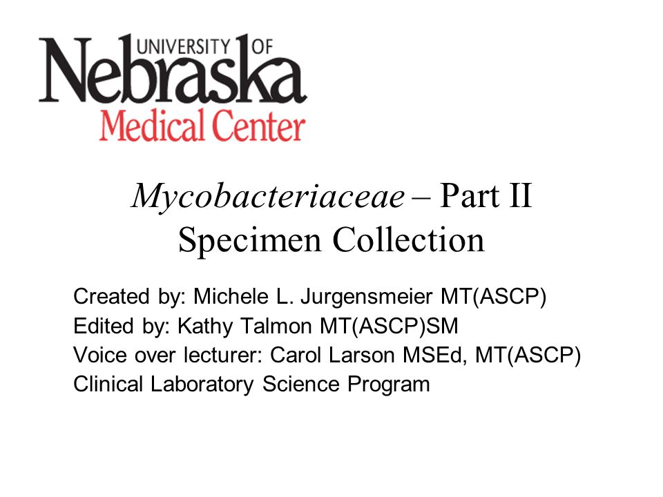 Mycobacteriaceae – Part II Specimen Collection Created by: Michele L.