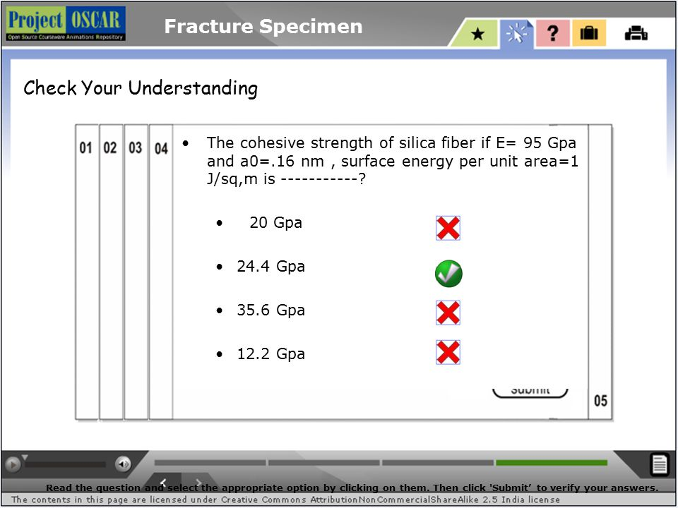 Fracture Specimen The cohesive strength of silica fiber if E= 95 Gpa and a0=.16 nm, surface energy per unit area=1 J/sq,m is -----------.
