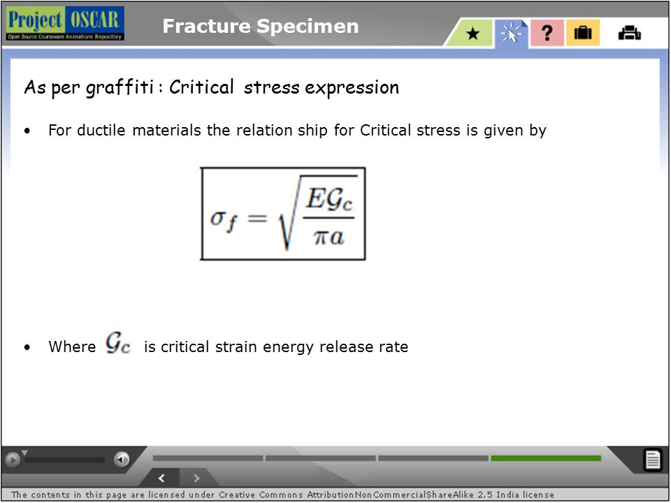 Fracture Specimen As per graffiti : Critical stress expression For ductile materials the relation ship for Critical stress is given by Where is critical strain energy release rate