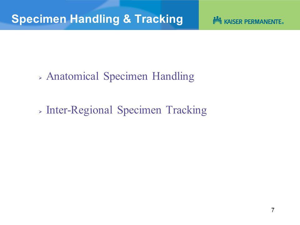 Specimen Handling & Tracking  Anatomical Specimen Handling  Inter-Regional Specimen Tracking 7
