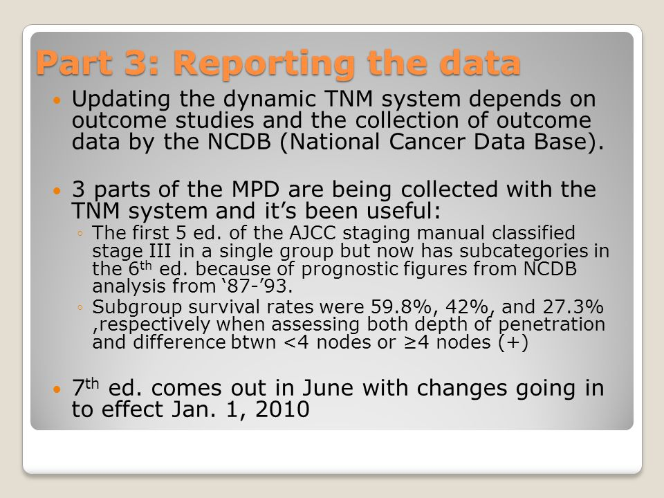 Part 3: Reporting the data Updating the dynamic TNM system depends on outcome studies and the collection of outcome data by the NCDB (National Cancer Data Base).