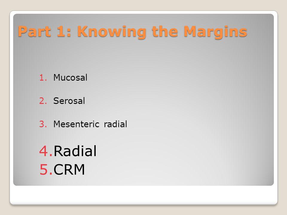 Part 1: Knowing the Margins 1.Mucosal 2.Serosal 3.Mesenteric radial 4.Radial 5.CRM