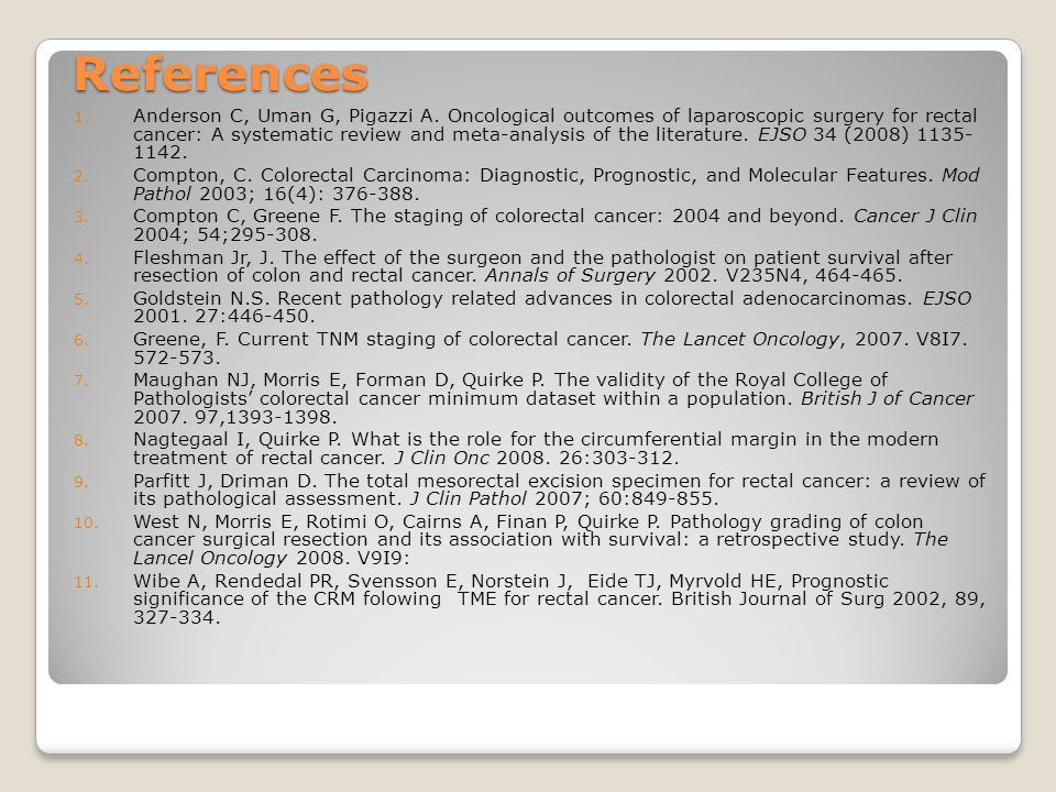 References 1. Anderson C, Uman G, Pigazzi A.