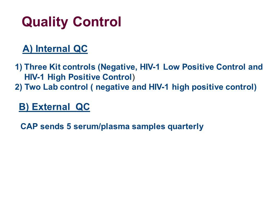 Quality Control 1)Three Kit controls (Negative, HIV-1 Low Positive Control and HIV-1 High Positive Control) 2) Two Lab control ( negative and HIV-1 high positive control) A) Internal QC B) External QC CAP sends 5 serum/plasma samples quarterly