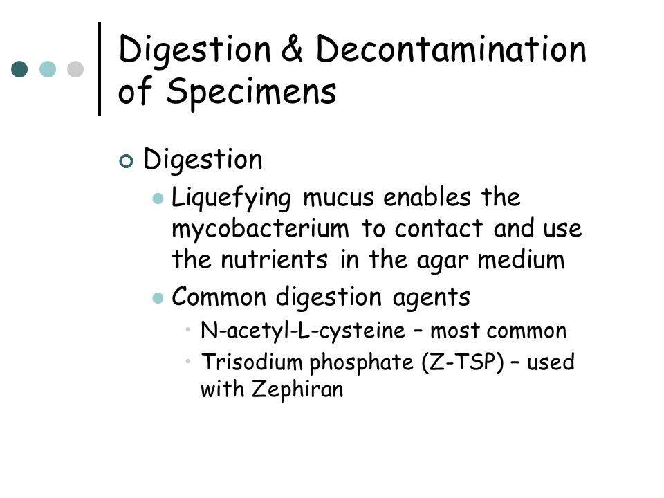 Digestion & Decontamination of Specimens Digestion Liquefying mucus enables the mycobacterium to contact and use the nutrients in the agar medium Comm