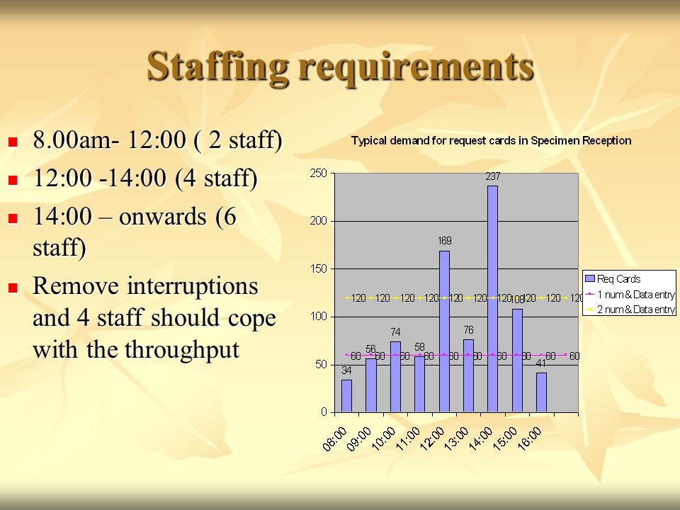 Staffing requirements 8.00am- 12:00 ( 2 staff) 8.00am- 12:00 ( 2 staff) 12:00 -14:00 (4 staff) 12:00 -14:00 (4 staff) 14:00 – onwards (6 staff) 14:00