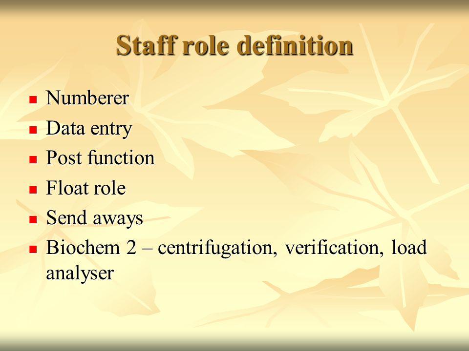 Staff role definition Numberer Numberer Data entry Data entry Post function Post function Float role Float role Send aways Send aways Biochem 2 – centrifugation, verification, load analyser Biochem 2 – centrifugation, verification, load analyser