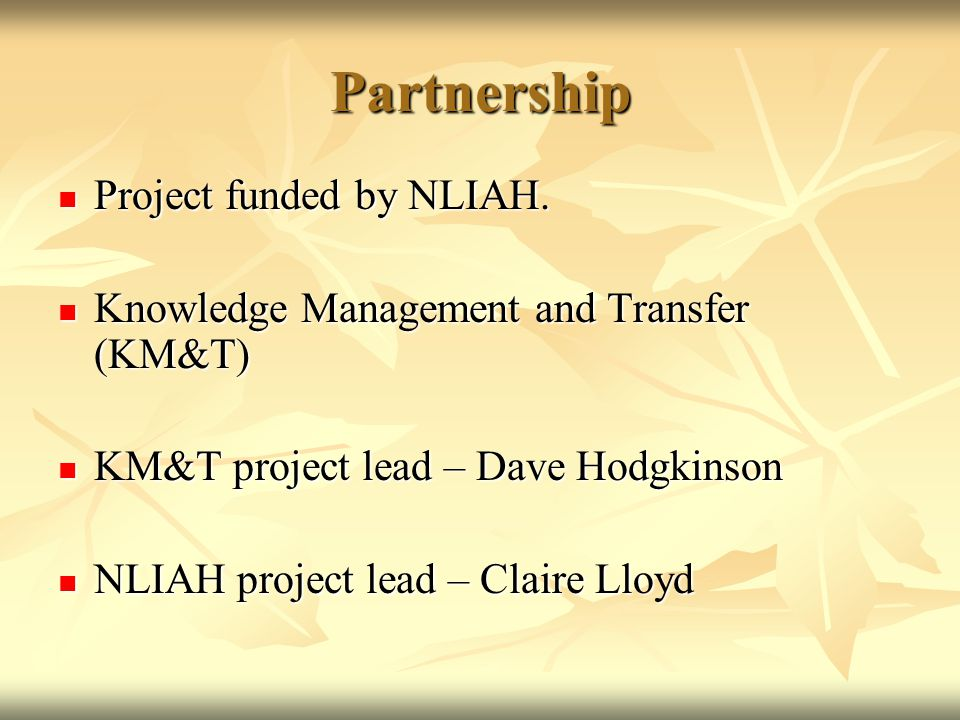 Partnership Project funded by NLIAH. Project funded by NLIAH. Knowledge Management and Transfer (KM&T) Knowledge Management and Transfer (KM&T) KM&T p