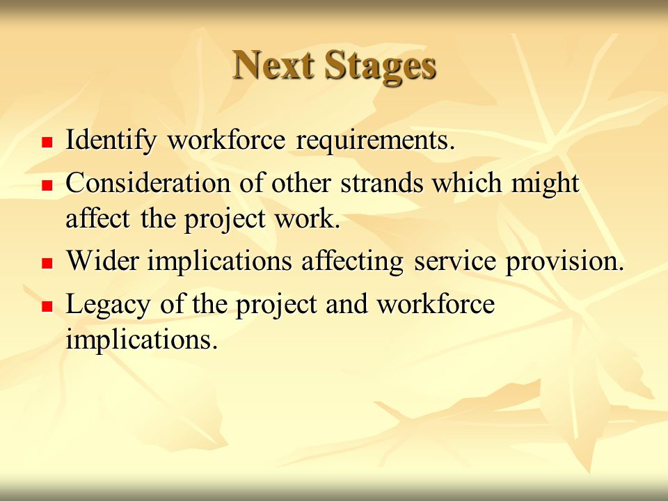 Next Stages Identify workforce requirements. Identify workforce requirements.