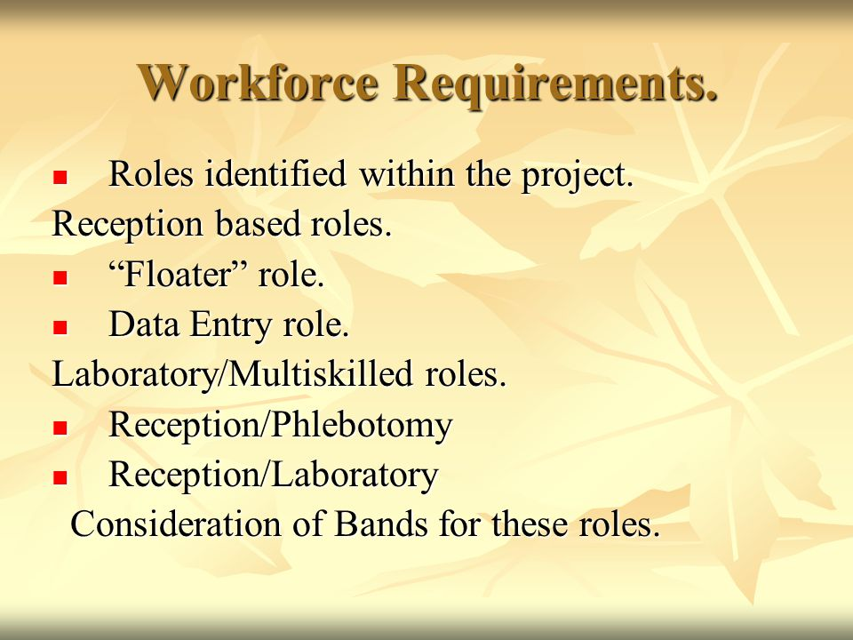 "Workforce Requirements. Roles identified within the project. Roles identified within the project. Reception based roles. ""Floater"" role. ""Floater"" rol"