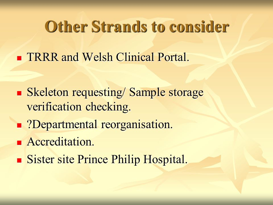 Other Strands to consider TRRR and Welsh Clinical Portal. TRRR and Welsh Clinical Portal. Skeleton requesting/ Sample storage verification checking. S