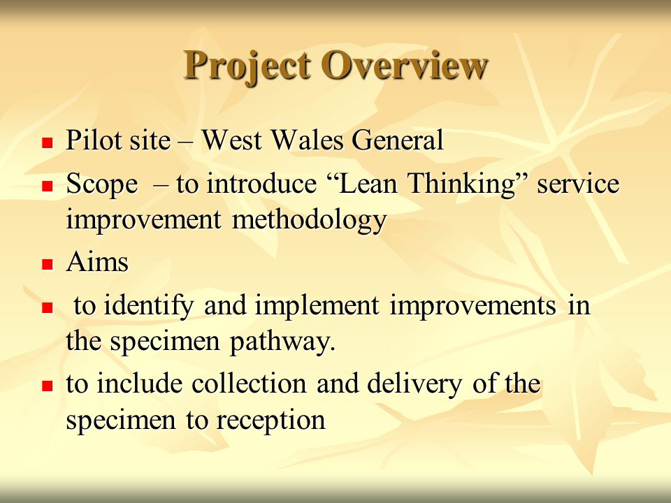Project Objectives Improve the efficiency and quality of service delivery within specimen reception.