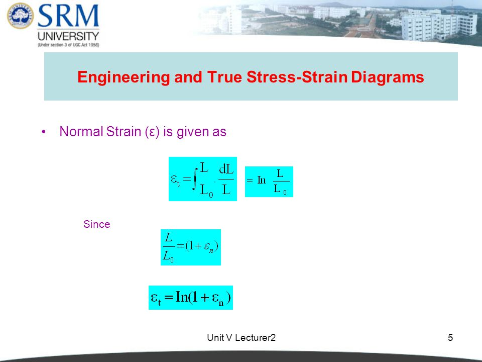 Unit V Lecturer25 Engineering and True Stress-Strain Diagrams Normal Strain (ε) is given as Since