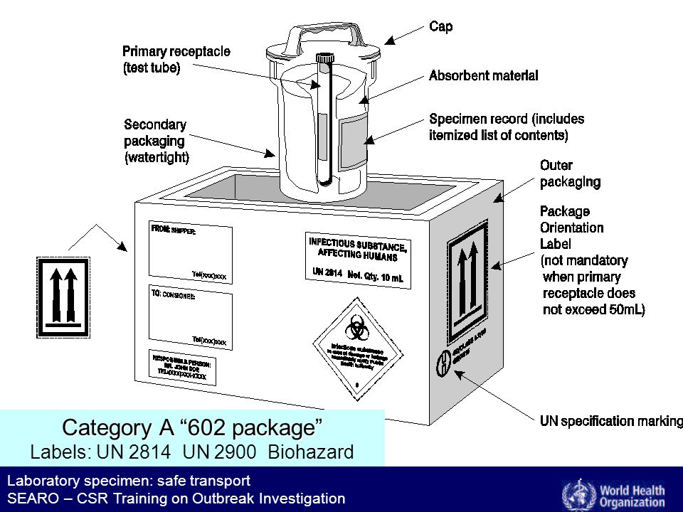 Laboratory specimen: safe transport SEARO – CSR Training on Outbreak Investigation Category A 602 package Category A 602 package Labels: UN 2814 UN 2900 Biohazard
