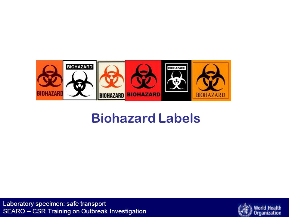 Laboratory specimen: safe transport SEARO – CSR Training on Outbreak Investigation Category B, 650 package Category B, 650 package UN 3373 No biohazard label