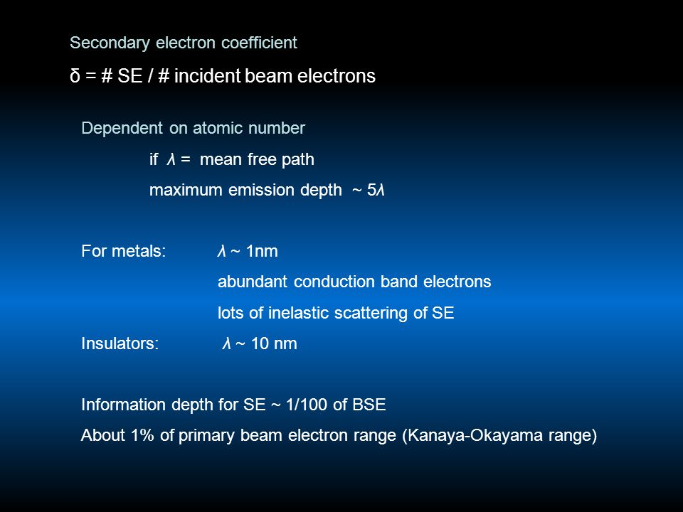 Secondary electron coefficient δ = # SE / # incident beam electrons Dependent on atomic number if λ = mean free path maximum emission depth ~ 5λ For m