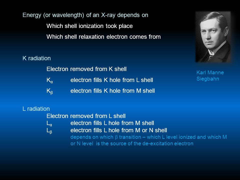 Energy (or wavelength) of an X-ray depends on Which shell ionization took place Which shell relaxation electron comes from K radiation Electron removed from K shell K α electron fills K hole from L shell K β electron fills K hole from M shell L radiation Electron removed from L shell L α electron fills L hole from M shell L β electron fills L hole from M or N shell depends on which  transition – which L level ionized and which M or N level is the source of the de-excitation electron Karl Manne Siegbahn