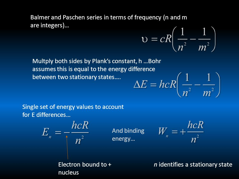 Balmer and Paschen series in terms of frequency (n and m are integers)… Multply both sides by Plank's constant, h …Bohr assumes this is equal to the energy difference between two stationary states….
