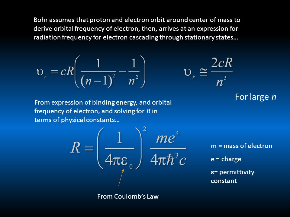 Bohr assumes that proton and electron orbit around center of mass to derive orbital frequency of electron, then, arrives at an expression for radiation frequency for electron cascading through stationary states… For large n From expression of binding energy, and orbital frequency of electron, and solving for R in terms of physical constants… m = mass of electron e = charge ε= permittivity constant From Coulomb's Law