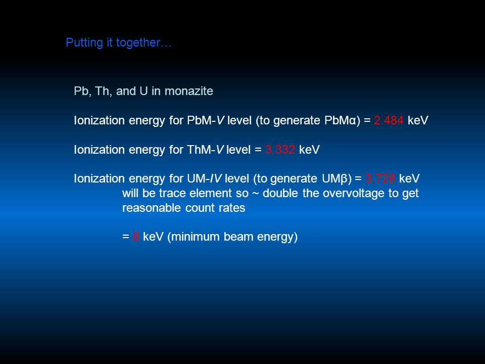 Putting it together… Pb, Th, and U in monazite Ionization energy for PbM-V level (to generate PbMα) = 2.484 keV Ionization energy for ThM-V level = 3.332 keV Ionization energy for UM-IV level (to generate UMβ) = 3.728 keV will be trace element so ~ double the overvoltage to get reasonable count rates = 8 keV (minimum beam energy)