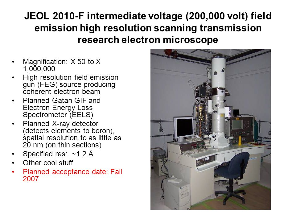 JEOL 2010-F intermediate voltage (200,000 volt) field emission high resolution scanning transmission research electron microscope Magnification: X 50
